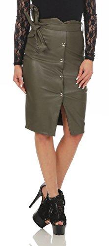 Fashion4Young 11045 dames rok minirok knielanger rok imitatieleer bodyconrock slimline skirt