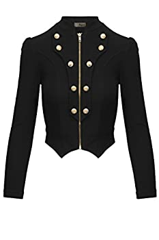 Women s Military Crop Stretch Gold Zip up Blazer Jacket KJK1125X Black 2X