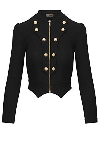 Women's Military Crop Stretch Gold Zip up Blazer Jacket KJK1125 Black XLarge