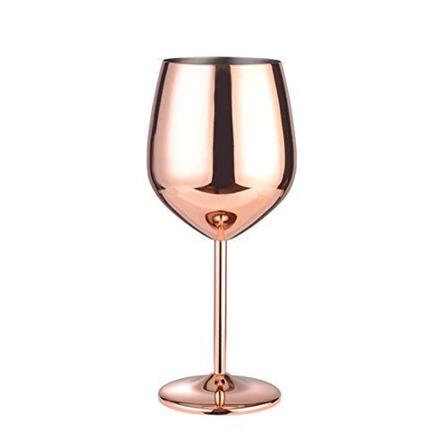 WEQTS Copa de vino de acero inoxidable, 500 ml para regalo de copas de vino de cocina y champán (oro rosa)