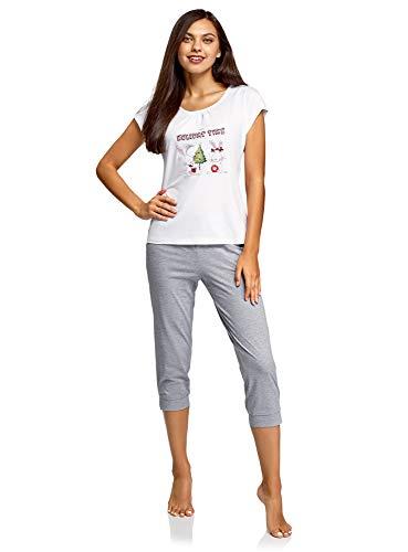 Oodji Ultra Mujer Pijama Con Pantalones Piratas Estampada Mujer Ropa De Dormir