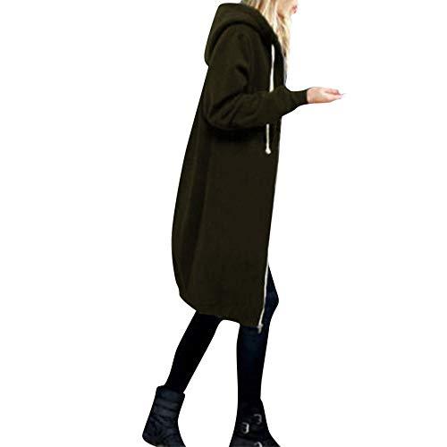 OverDose Damen Herbst Winter Outing Stil Frauen Warm Reißverschluss Öffnen Clubbing Dating Elegante Hoodies Sweatshirt Langen Mantel Jacke Tops Outwear Hoodie Outwear(Armeegrün,EU-50/CN-5XL)