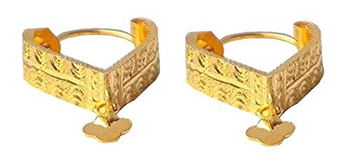 Sólido puro de 18 quilates 18 quilates amarillo oro fino triángulo del diseño del aro de Altura-1.9CM Anchura-el 1.3CM para las mujeres, las niñas, niños, para hombre Bali