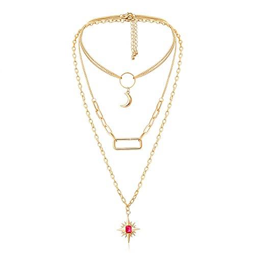 N/A Halskette Damen Europäische und amerikanische quadratische Hohle Halskette weibliche einfache rote Markise Stern Mond geometrische Halskette Edelstahl Halskette