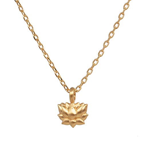 Satya Jewelry NG86-LOT-L16 Women's Gold Lotus Pendant Rooted in Possibility 40.5-43 cm Silver 925 Gold-Plated