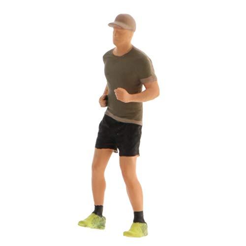 sharprepublic 1:64 Figuras en Miniatura Pintadas a Mano Escenario de Maratón Deportivo Estatuilla Edificio Diorama Personas Paisaje Accesorios - Caqui, Hombre