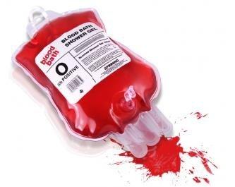 Blut Duschgel im Blutspendebeutel Halloween Deko transparent rot 400ml