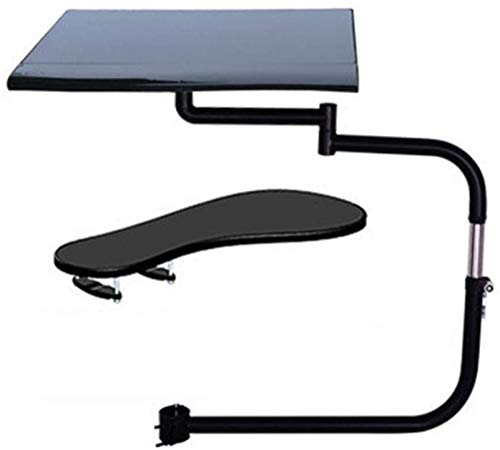 HYE-Table Keyboard Drawer & Mouse Tray, Chair Mouse Tray Armrest Adjustable Keyboard Platforms Retractable Rotating Easy to Install, 2-Piece Set