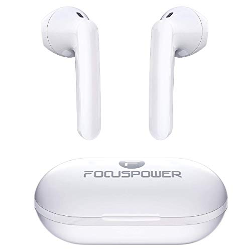 FOCUSPOWER F15 True Wireless Earbuds Bluetooth 5.0 Headphones,30Hrs Playtime with Charging Case, USB C, IPX5 Waterproof, TWS Stereo Earphones with Built-in Microphone for Sports and Work