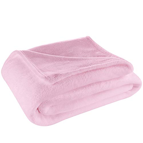 Cosy House Collection Twin/Twin XL Size Fleece Blanket – All Season, Lightweight & Plush - Microfiber Blankets for Bed, Couch or Travel - Pink