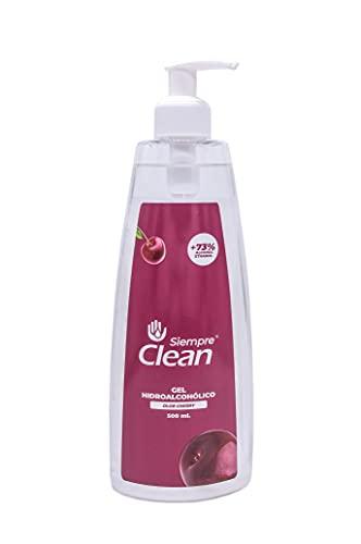 SiempreClean Gel Hidroalcohólico con Dosificador, Gel Higienizante Suave con la Piel, 73% de Alcohol Etílico, Perfume Cereza, 500 ml