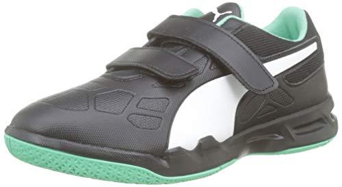 PUMA Tenaz V Jr, Zapatos de Futsal Unisex Niños, Black White-Biscay Green, 39 EU