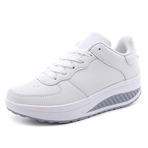 Zapatillas Deportivas Mujer Calzado Deportivo para Adelgazar y Elásticas Zapatos de Plataforma de Cuña de Fitness Zapatos Casuales Zapatillas de Andar Antideslizantes Portátiles Cómodas Blanco, 37 EU