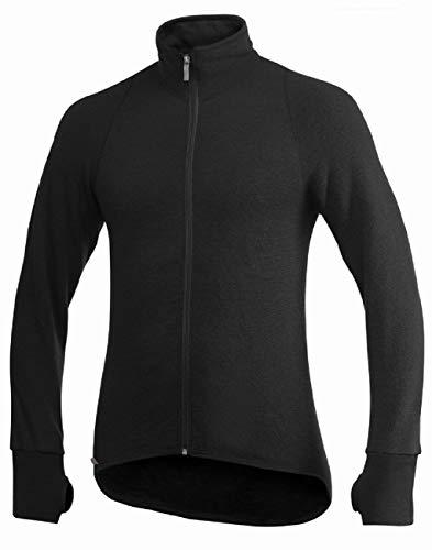 Woolpower Full Zip Jacket 600 - Veste ouverture Complète Manches Longues Ullfrotté - Taille S - Noir