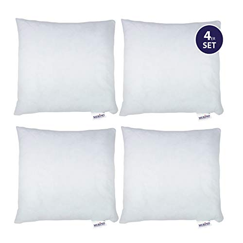 MERINO BETTEN 4er Set Kissen 45x45 | Dekokissen | Couchkissen | Kissen mit Reißverschluss
