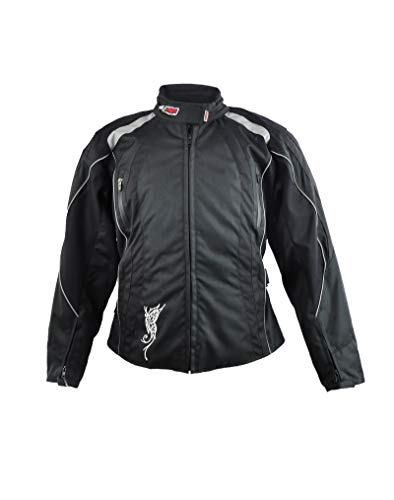 Zerimar KENROD Cordura Stoff Jacke mit langen Ärmeln und Reißverschluss Verstellbare Hose mit reflektierenden Linien Farbe Schwarz Größe XL