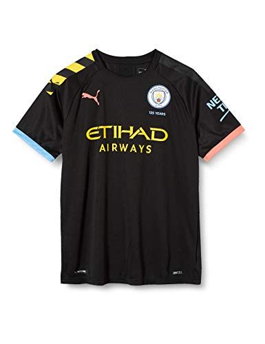PUMA Kinder MCFC AWAY Shirt Replica SS Jr with Sponsor Logo Trikot, Black/Georgia Peach, 164