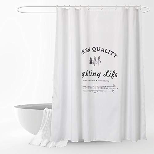 SMNHSRXH douchegordijn, mat, witte achtergrond, eenvoudig, waterdicht, polyester, duurzaam, met haak tegen schimmel