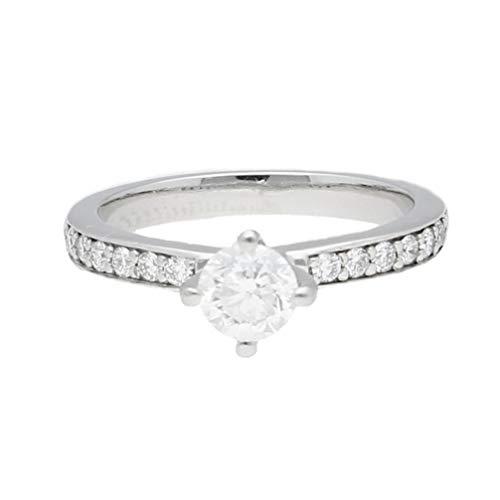 Anillo solitario de platino 950 con diamante de 0,40 quilates con acentos de 0,15 quilates (tamaño G), cabeza de 4 mm   Anillo de lujo para mujer