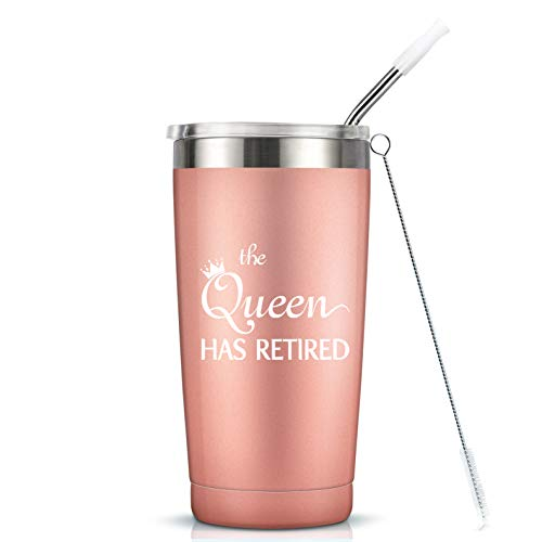 Retirement Gifts for Women Her Coworker - The Queen Has Retired Gift Cup - 20 Oz Insulated Stainless Steel Mug Tumbler with Lid for Mom Grandma Sister Friend Auntie