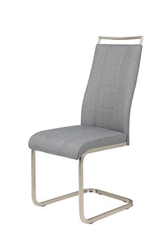 4er Set Schwingstuhl Amber6, Bezug Webstoff grau, Metallgestell edelst.-optik, 102x43x56 cm