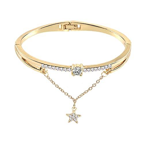 Pulsera para mujer con forma de corazón y cristal de apertura de amor, pulsera de cristal sintético, diseño de estrellas de piedras preciosas de colores acrílicos, pulsera de cristal