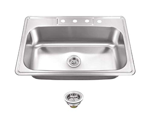 """Kitchen Sink Stainless Steel Drop In Top Mount 33"""" x 22"""" Single Bowl with Strainer, 4 hole"""