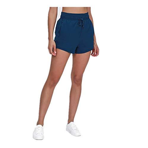 N\P Pantalones cortos de correr para mujer, con bolsillos, elásticos y transpirables, para entrenamiento, yoga, correr, salón - - X-Large