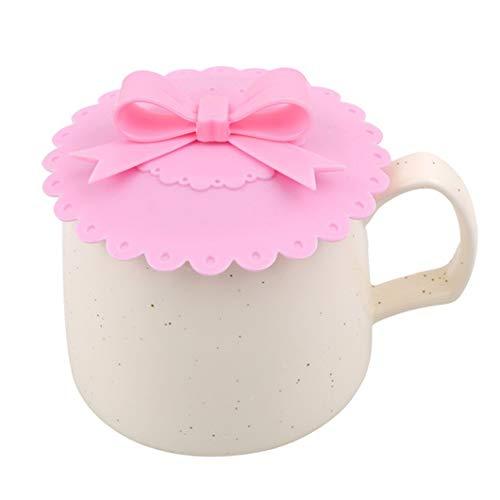 PULABOSilicone - Cubiertas de taza de cristal, antipolvo, diseño de nudo de lazo, color rosa, calidad adorable y duradero