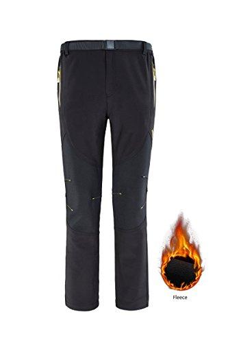 Women Fleeced Snow Hiking Pants Water Repellent Windproof Outdoor Sports Softshell Winter Pants Black L