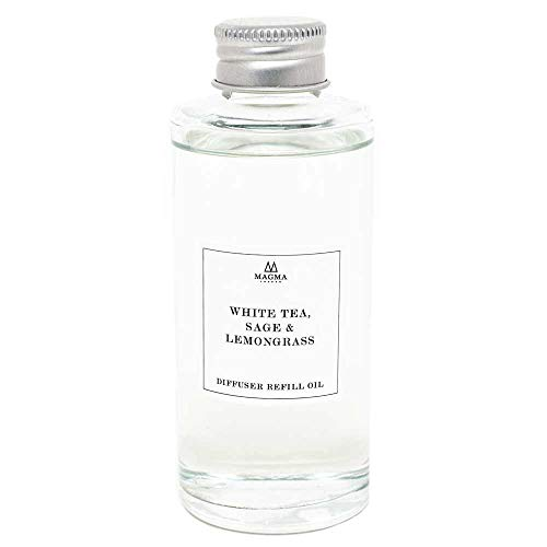 Magma London - Essential Oils Diffuser Refill - English Garden Collection - 100ml Bottle - White Tea, Sage and Lemongrass Home Fragrance