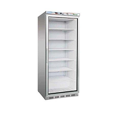 Armario frigorífico refrigerado congelador 600 l. Estructura exterior de acero inoxidable, puerta de cristal. Temperatura: -18 °/-22 °C.