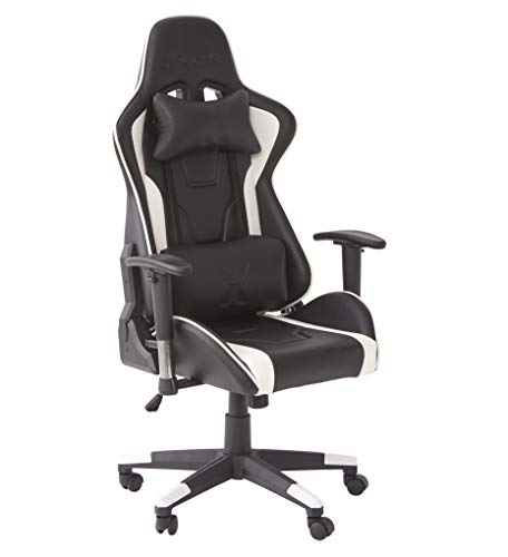 X-Rocker Bravo PC Gaming Chair, Ergonomic High Back Office Computer Desk Chair with Neck and Lumbar Support Cushions, Back Tilt, 3D Adjustable Armrests & Swivel, PU Faux Leather – White/Black