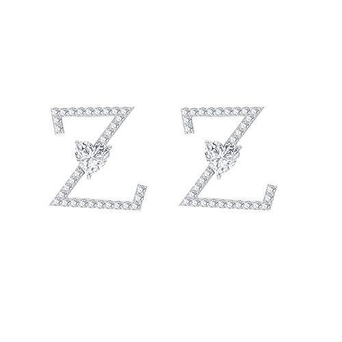 Pendientes con inicial Z, pendientes de letra del alfabeto, personalizar pendientes de boda, HI-SI 0,52 quilates, pendientes de diamante, forma de corazón, regalo de aniversario, 10K Oro blanco, Par
