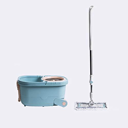 Kiki Mopa giratoria de 360 ° con sistema de limpieza de piso giratorio automático para limpieza profesional del hogar, limpieza comercial del piso (color: azul claro, tamaño: y 2 cabezales de fregona)