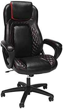 OFM Essentials Collection Leather High Back Office Chair (Red)