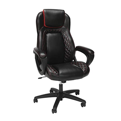 OFM Essentials Collection Racing Style SofThread Leather High Back Office Chair, in Red chair gaming