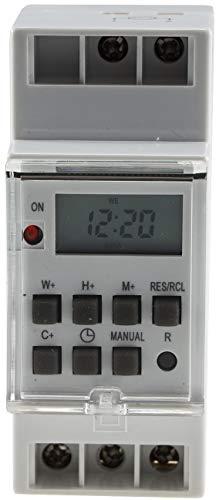 ChiliTec Digitale Zeitschaltuhr für Hutschiene Schalttafel 230V / 16A Zeitschalter Timer LC-Display Programmierbar für Woche/Tag