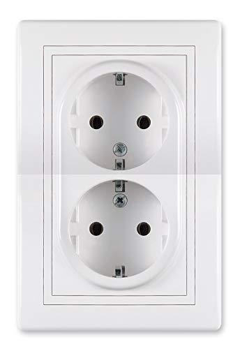 ALING-CONEL Enchufe doble con protección de contacto, 16 A/250 V ~ (para instalación en una caja de instalación de 60 mm de diámetro), incluye marco (completo), color blanco (RAL 9003)