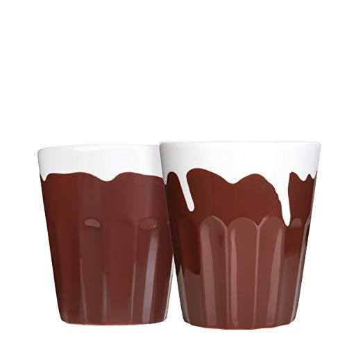 Mahlwerck Porzellan Cappuccinotassen, Cappuccino-Becher, Schokoladen Candy-Rim-Look, 280ml, 2er Set