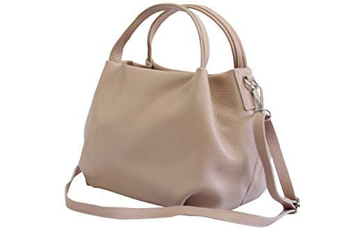 Ambra Moda bolsa de mano, bolsa de hombro para mujer de piel GL023 (Azul Oscuro)
