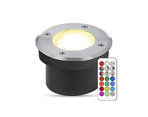 lambado® Flacher LED Bodenstrahler für Aussen mit RGB Farbwechsel dimmbar inkl. Fernbedienung - Runde Bodenleuchte/Bodeneinbaustrahler IP67 aus Edelstahl - Befahrbar & Wasserdicht