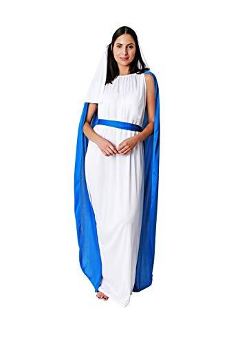 Gojoy shop-Disfraz de Virgen Mara para Mujeres Navidad Carnaval (Contiene Tnica con Capa, Cinturn y Tocado, Talla Unica)