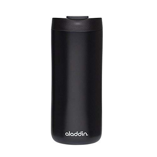 Aladdin Edelstahl-Thermobecher, 0.35 Liter, Mattschwarz, Doppelwandig Vakuumisoliert, Auslaufsicher, Spülmaschinenfest, Kaffeebecher Isolierbecher Thermo-Becher