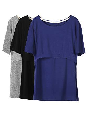 Smallshow Mujer Enfermería Tops de Manga Corta en Capas de diseño Camisas de Lactancia Materna,Deep Blue/Black/Grey,S