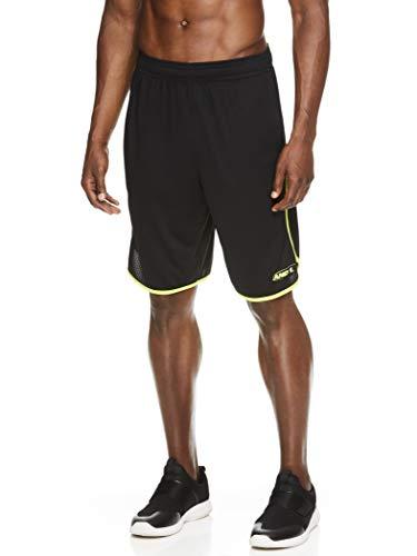 AND1 - Pantalones cortos de baloncesto para hombre con cintura elástica y bolsillos, entrepierna de 12 pulgadas -  Negro -  Medium
