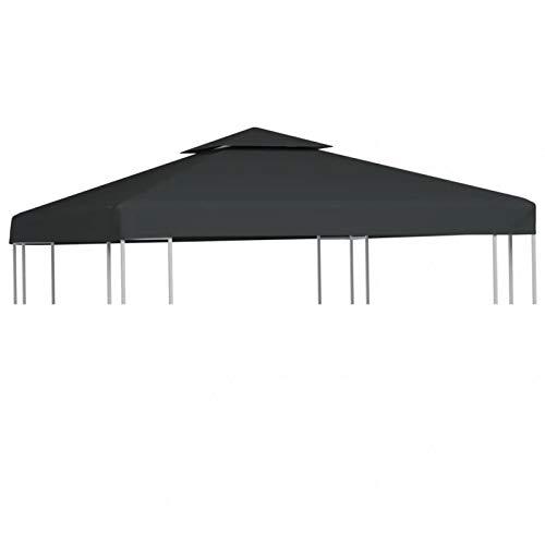 GOTOTOP Cubierta de Repuesto para Pabellón Cenador Gazebo, 3 x 3 m, Impermeable, con 8 Arandelas, 310 g/m², Gris Oscuro