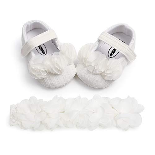EDOTON Baby Mädchen Blume Schuhe mit Haarband Anti-Rutsch-Weiche Taufe Prinzessin Lauflernschuhe Sneaker für Kleinkind (12-18 Monate, A_Weiß)