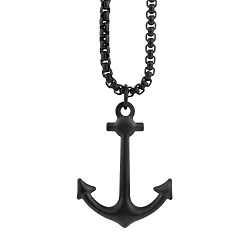 Akitsune Portus Colgante Incl. 70cm Cadena | Collar Hafen Ancla Náutico Marítimo Hombreas Hombre Acero Inoxidable - Negro Mate