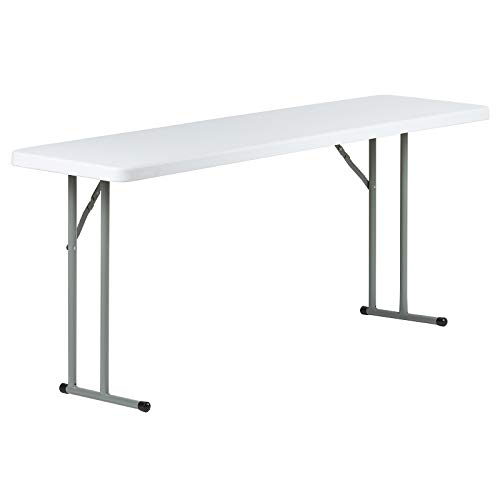 Hartleys 6ft White 46cm Narrow Rectangular Table With Fold Away Legs
